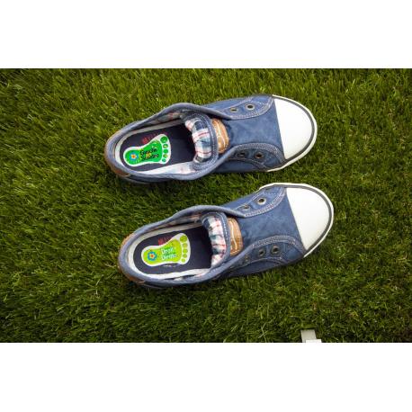 etiquette autocollant design specifique pied moyen format chaussure tennis