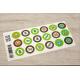 etiquette autocollant design simple ronde petit format allergie planche